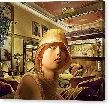 Art Deco Jewelry Canvas Print - Woman In Lobby by Chuck Staley