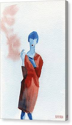Woman In Red Dress With Cigarette And Mobile Device Canvas Print by Beverly Brown