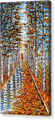 Woman In Red In Fall Rainy Day Canvas Print by Georgeta  Blanaru
