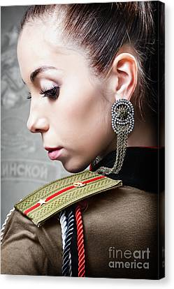 Woman In Russian Fetish Uniform Looking Over Her Shoulder Canvas Print by Joe Fox