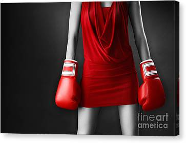 Woman In Sexy Red Dress Wearing Boxing Gloves Canvas Print by Oleksiy Maksymenko