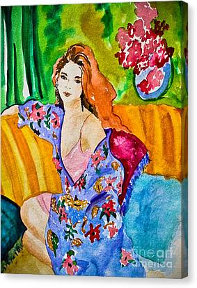 Woman In Silk Kimono Canvas Print by Colleen Kammerer