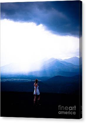Woman In Storm Canvas Print by Scott Sawyer