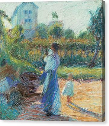 Boccioni Canvas Print - Woman In The Garden by Umberto Boccioni