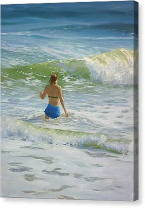 Woman In The Waves Canvas Print