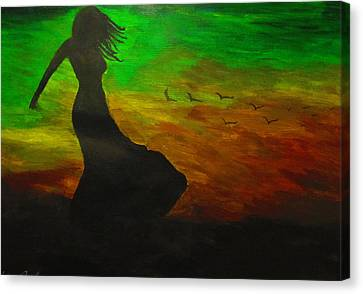 Woman In The Wind Canvas Print by Haleema Nuredeen