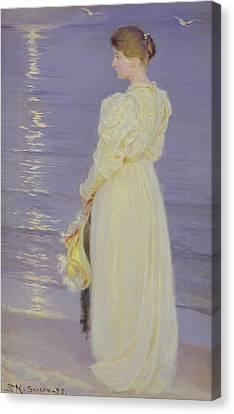 Woman In White On A Beach, 1893 Canvas Print by Peder Severin Kroyer