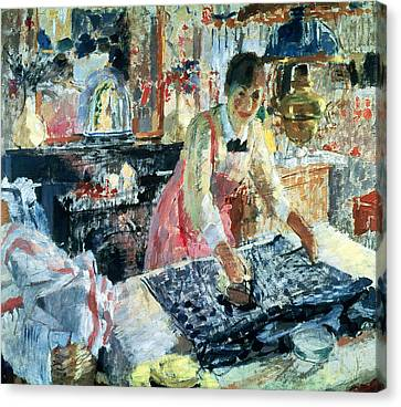Laundry Canvas Print - Woman Ironing by Rik Wouters