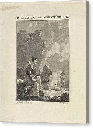Woman Looking Out Over The Sea, Philippus Vellum Canvas Print by Philippus Vellum