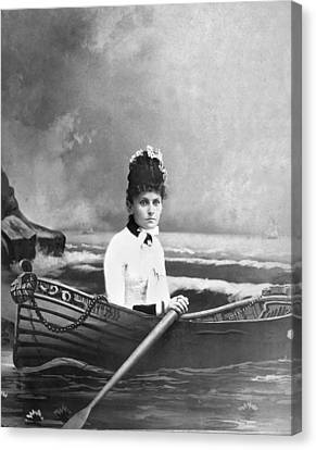 Rowboat Canvas Print - Woman Lost At Sea In A Studio by Underwood Archives