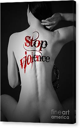 Woman Move Tattoo Containing Stop Violent Canvas Print