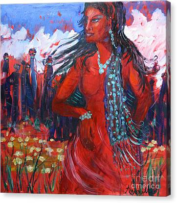 Woman Of The Whispering Wind Canvas Print by Avonelle Kelsey