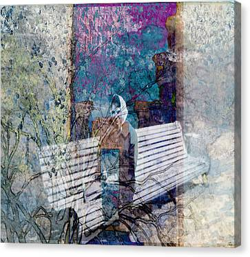 Canvas Print featuring the digital art Woman On A Bench by Cathy Anderson