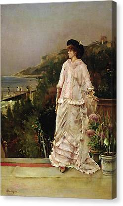 Woman On A Terrace Canvas Print by Alfred Emile Stevens