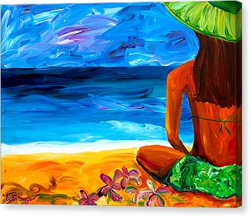 Woman On Beach Canvas Print by Beth Cooper