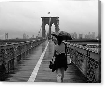 Woman On Brooklyn Bridge Canvas Print by Victoria Lakes