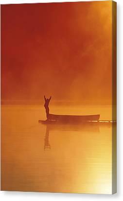 Woman On Dock Robe Lake  Sunrise Sc Ak Canvas Print by Michael DeYoung