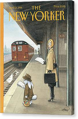 Woman On Train Platform Looking At Easter Bunny Canvas Print by Harry Bliss