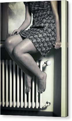 Woman On Window Sill Canvas Print