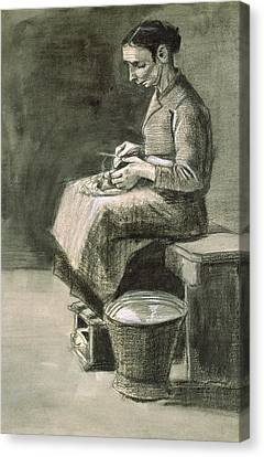 Woman Peeling Potatoes, 1882 Canvas Print