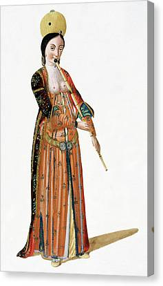 Woman Playing A Flute Canvas Print by Cci Archives