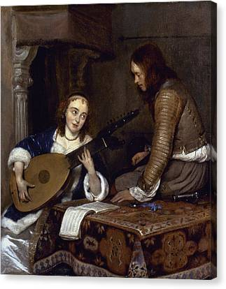 Woman Playing A Theorbo Canvas Print by Granger