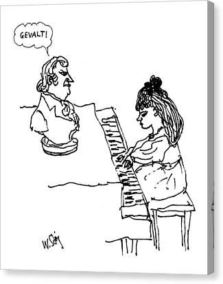 Woman Playing Piano Canvas Print