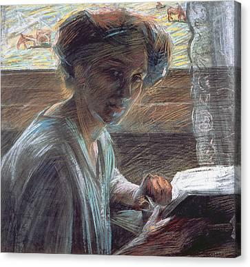 Boccioni Canvas Print - Woman Reading by Umberto Boccioni