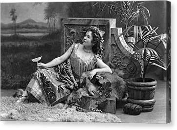 Woman Reclining In Luxury Canvas Print by Underwood Archives
