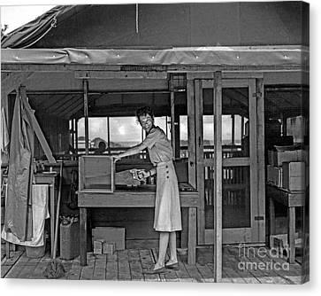 Woman Sawing Box In Half Canvas Print by Brady Barrineau