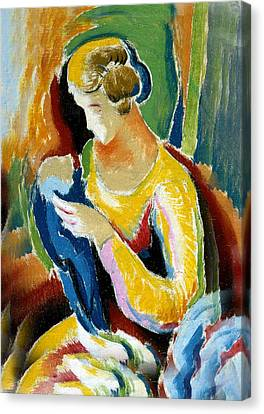 Woman Seated Holding A Baby Canvas Print