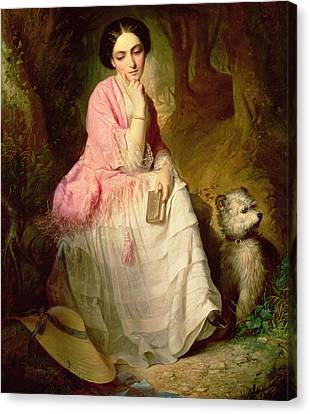 Woman Seated In A Forest Glade Canvas Print by Gyorgyi Giergl Alajos