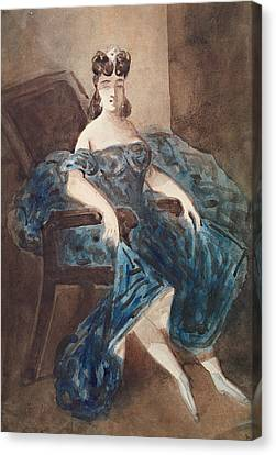 Woman Seated In An Armchair Wc On Paper Canvas Print by Constantin Guys