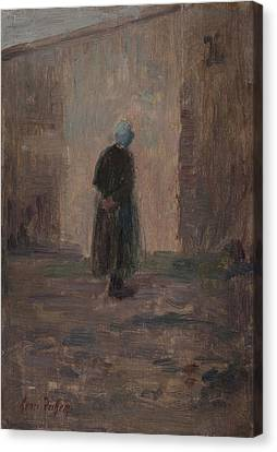 Woman Seen From Behind Standing Before A Wall  Canvas Print by Henri Duhem