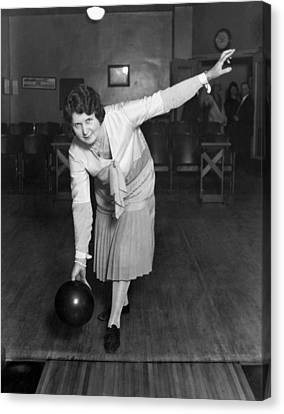 Woman Sets Bowling Record Canvas Print by Underwood Archives