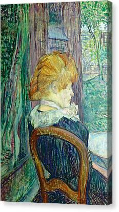 Woman Sitting In A Garden Canvas Print