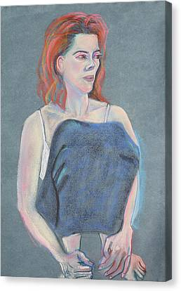 Woman Sitting With Her Skirt Covering Her Legs Canvas Print by Asha Carolyn Young