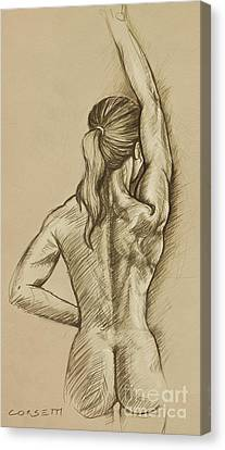 Canvas Print featuring the drawing Woman Sketch by Rob Corsetti