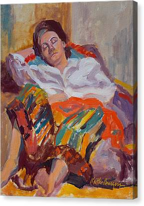 Woman Sleeping Canvas Print by Keith Burgess