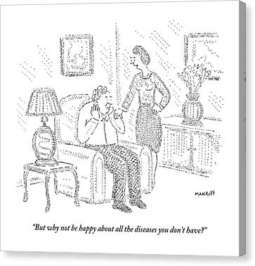 Illness Canvas Print - Woman Speaks To Man Sitting On Chair by Robert Mankoff