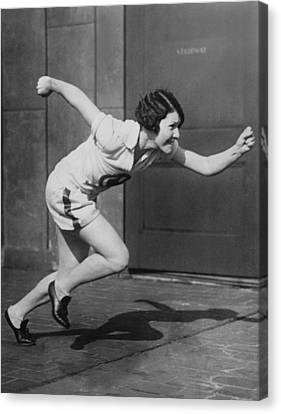 Woman Sprinter Practicing Canvas Print