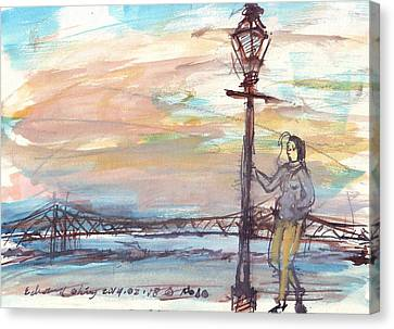 Woman Standing Near Mississippi River Canvas Print by Edward Ching