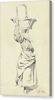 Loon Canvas Print - Woman Standing With Basket On Head, Pieter Van Loon by Quint Lox