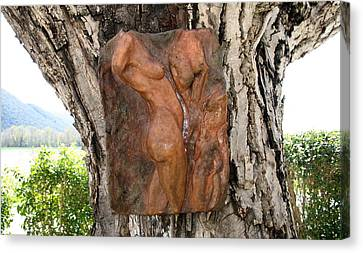 Woman Torso Relief Canvas Print by Flow Fitzgerald