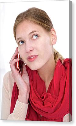 Woman Using Mobile Phone Canvas Print