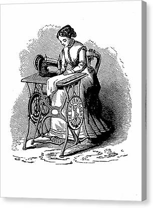 Sewing Machine Canvas Print - Woman Using Sewing Machine by Universal History Archive/uig