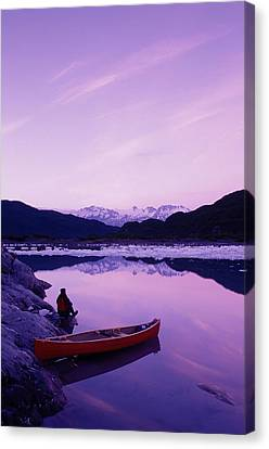 Woman Viewing Lake Next To Canoe Shoup Canvas Print by Michael DeYoung