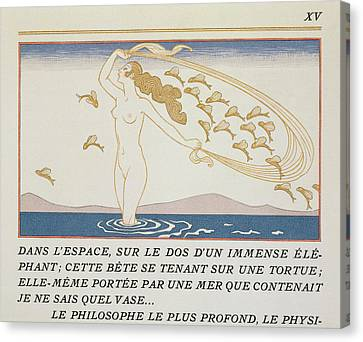 Woman Wading Through Water Canvas Print by Georges Barbier