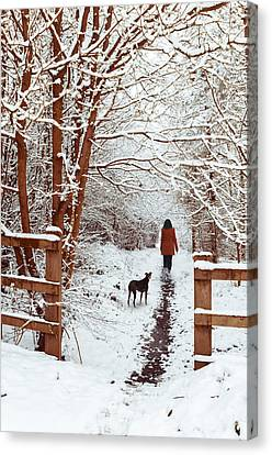 Woman Walking Dog Canvas Print by Amanda Elwell