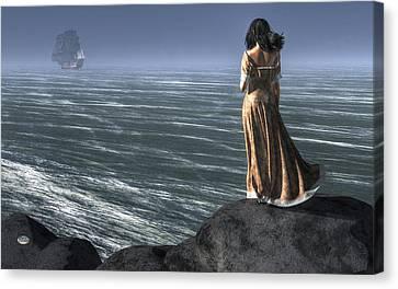 Woman Watching A Ship Sailing Away Canvas Print